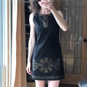 Tribal Sleeveless black mini dress.